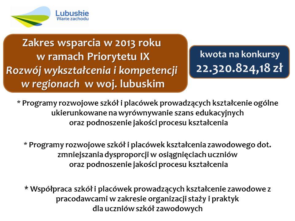 Zakres wsparcia w 2013 roku w ramach Priorytetu IX Rozwój wykształcenia i kompetencji w regionach w woj.