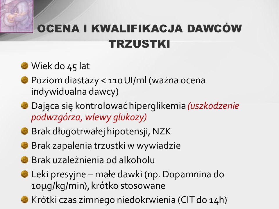 OCENA I KWALIFIKACJA DAWCÓW TRZUSTKI Wiek do 45 lat Poziom diastazy < 110 UI/ml (ważna ocena indywidualna dawcy) Dająca się kontrolować hiperglikemia (uszkodzenie podwzgórza, wlewy glukozy) Brak długotrwałej hipotensji, NZK Brak zapalenia trzustki w wywiadzie Brak uzależnienia od alkoholu Leki presyjne – małe dawki (np.