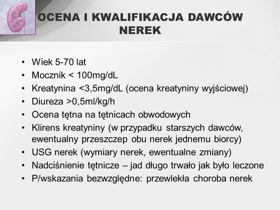 OCENA I KWALIFIKACJA DAWCÓW NEREK Wiek 5-70 lat Mocznik < 100mg/dL Kreatynina <3,5mg/dL (ocena kreatyniny wyjściowej) Diureza >0,5ml/kg/h Ocena tętna na tętnicach obwodowych Klirens kreatyniny (w przypadku starszych dawców, ewentualny przeszczep obu nerek jednemu biorcy) USG nerek (wymiary nerek, ewentualne zmiany) Nadciśnienie tętnicze – jad długo trwało jak było leczone P/wskazania bezwzględne: przewlekła choroba nerek