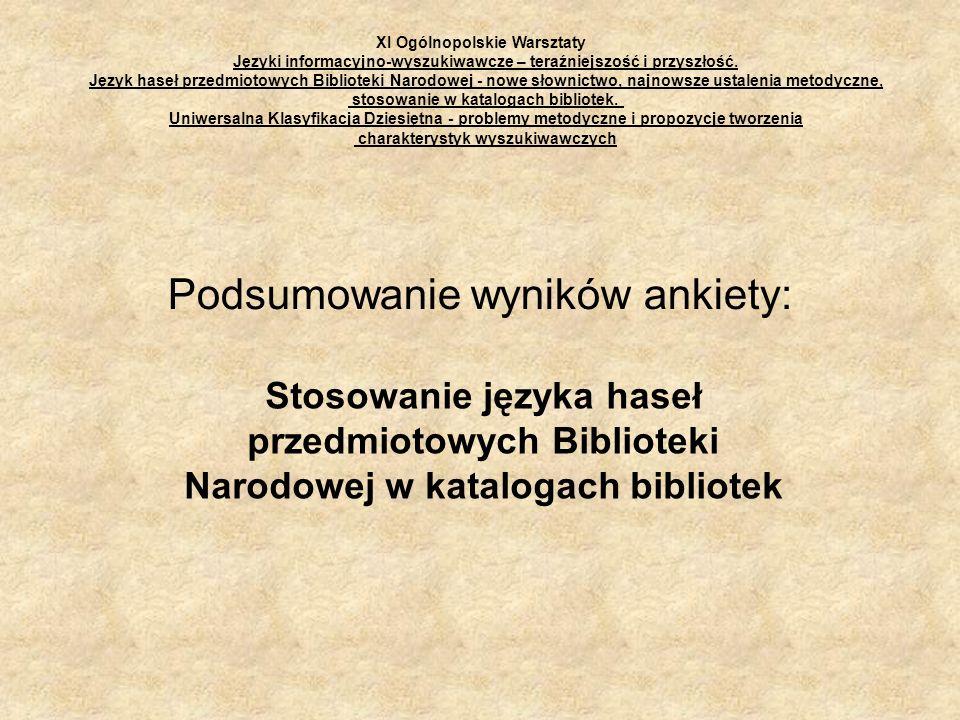 Podsumowanie wyników ankiety: Stosowanie języka haseł przedmiotowych Biblioteki Narodowej w katalogach bibliotek XI Ogólnopolskie Warsztaty Języki inf
