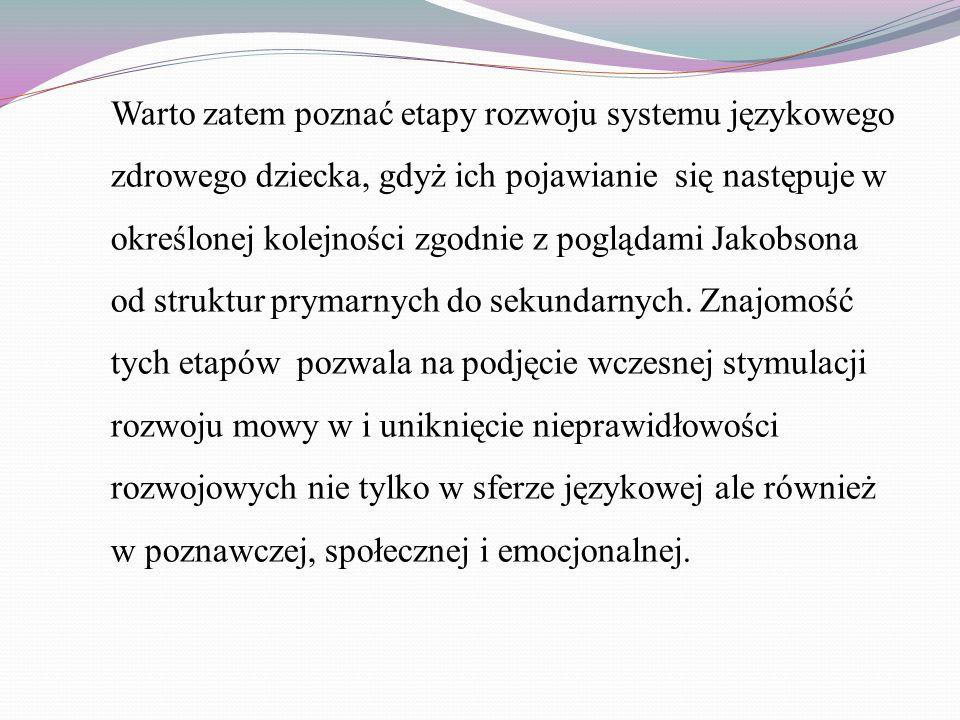 Warto zatem poznać etapy rozwoju systemu językowego zdrowego dziecka, gdyż ich pojawianie się następuje w określonej kolejności zgodnie z poglądami Ja
