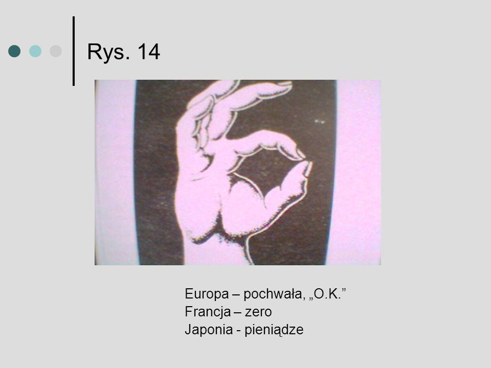 Rys. 14 Europa – pochwała, O.K. Francja – zero Japonia - pieniądze