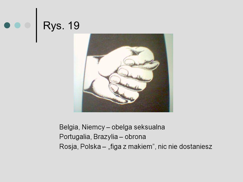 Rys. 19 Belgia, Niemcy – obelga seksualna Portugalia, Brazylia – obrona Rosja, Polska – figa z makiem, nic nie dostaniesz