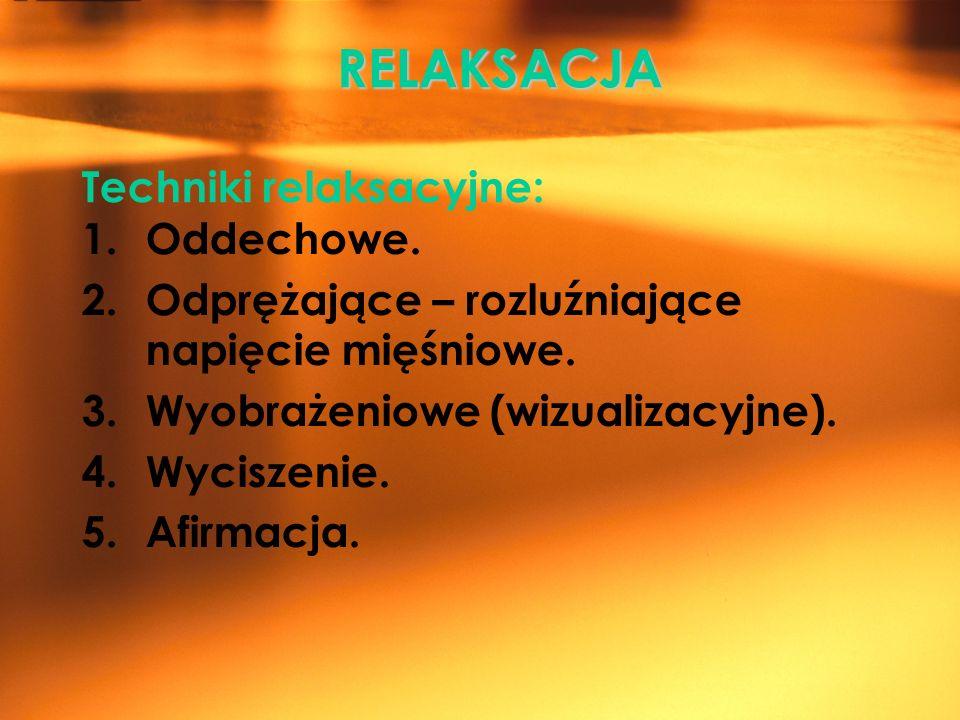 RELAKSACJA RELAKSACJA Techniki relaksacyjne: 1.Oddechowe. 2.Odprężające – rozluźniające napięcie mięśniowe. 3.Wyobrażeniowe (wizualizacyjne). 4.Wycisz
