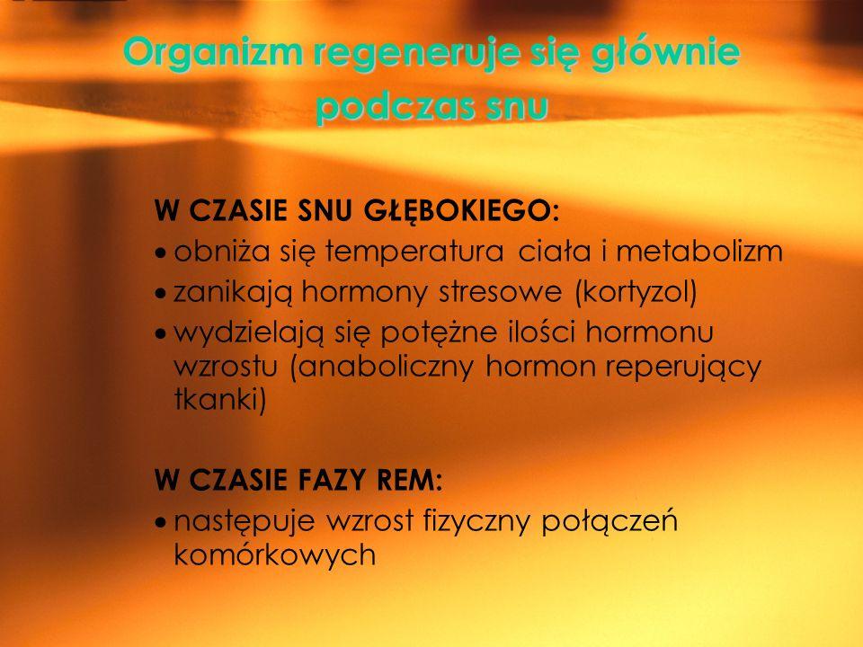 Organizm regeneruje się głównie podczas snu W CZASIE SNU GŁĘBOKIEGO: obniża się temperatura ciała i metabolizm zanikają hormony stresowe (kortyzol) wy