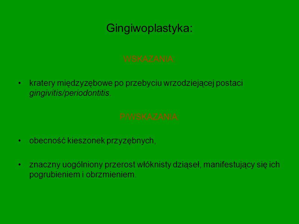Gingiwoplastyka: WSKAZANIA: kratery międzyzębowe po przebyciu wrzodziejącej postaci gingivitis/periodontitis.
