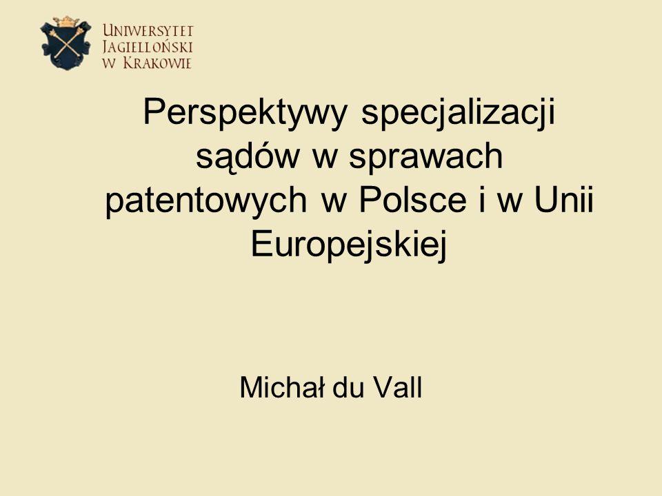 Perspektywy specjalizacji sądów w sprawach patentowych w Polsce i w Unii Europejskiej Michał du Vall