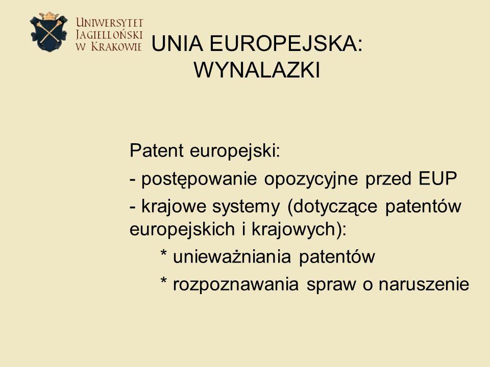 UNIA EUROPEJSKA: WYNALAZKI Patent europejski: - postępowanie opozycyjne przed EUP - krajowe systemy (dotyczące patentów europejskich i krajowych): * u