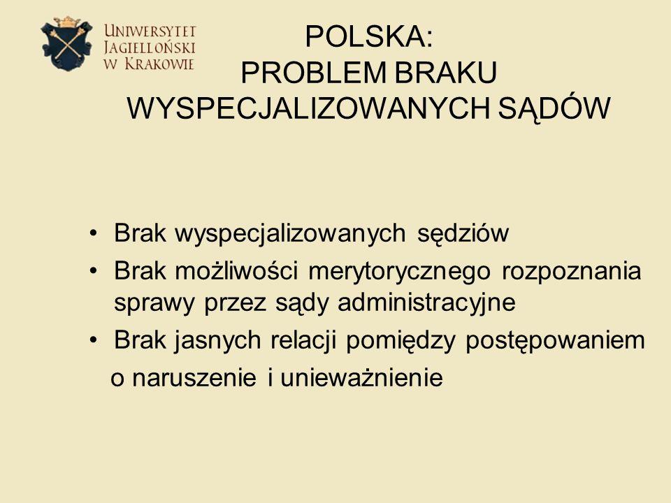POLSKA: PROBLEM BRAKU WYSPECJALIZOWANYCH SĄDÓW Brak wyspecjalizowanych sędziów Brak możliwości merytorycznego rozpoznania sprawy przez sądy administra