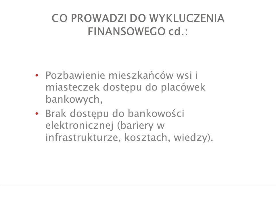 CO PROWADZI DO WYKLUCZENIA FINANSOWEGO cd.: Pozbawienie mieszkańców wsi i miasteczek dostępu do placówek bankowych, Brak dostępu do bankowości elektro