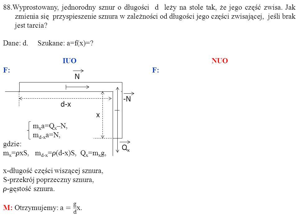 88.Wyprostowany, jednorodny sznur o długości d leży na stole tak, że jego część zwisa.