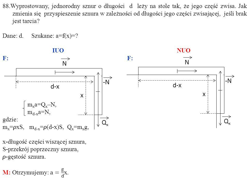 N QxQx -N d-x x 88.Wyprostowany, jednorodny sznur o długości d leży na stole tak, że jego część zwisa.