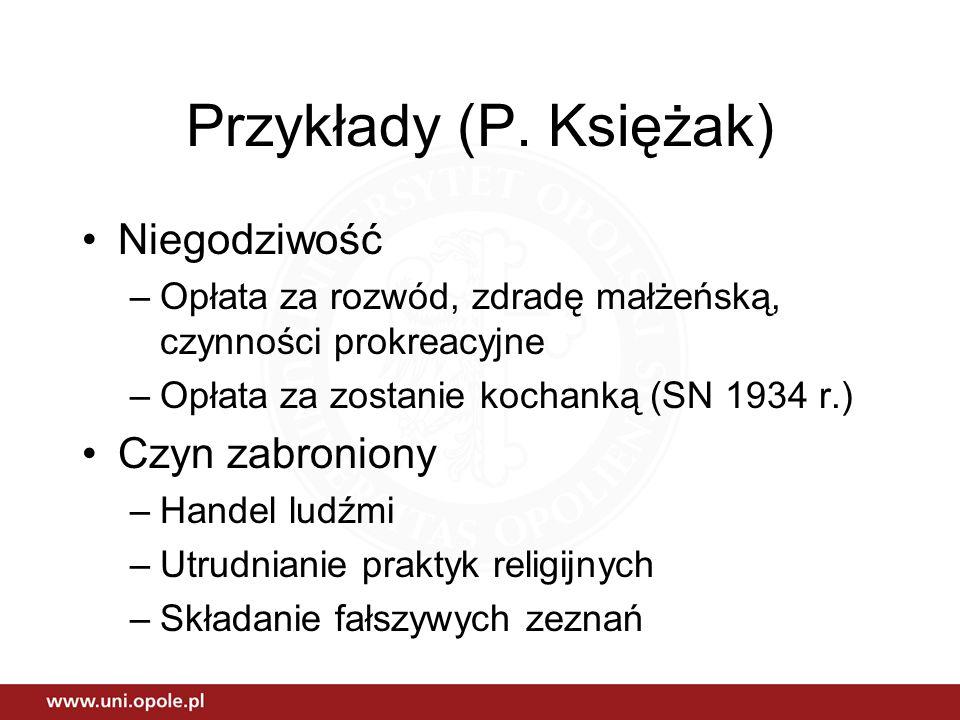 Przykłady (P. Księżak) Niegodziwość –Opłata za rozwód, zdradę małżeńską, czynności prokreacyjne –Opłata za zostanie kochanką (SN 1934 r.) Czyn zabroni