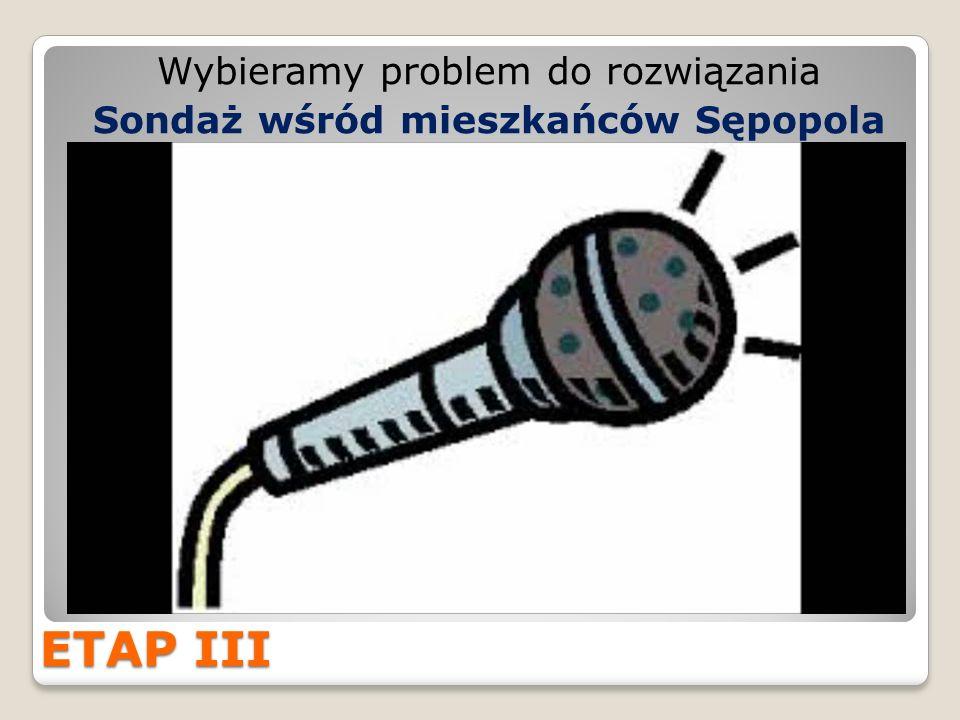 ETAP III Wybieramy problem do rozwiązania Sondaż wśród mieszkańców Sępopola