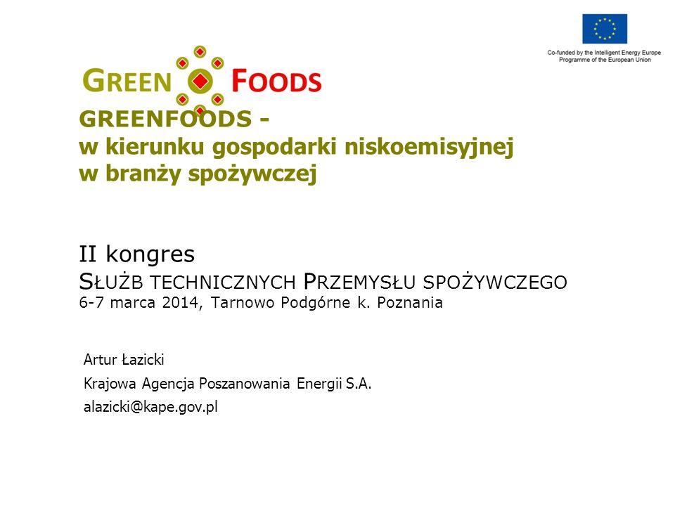 Cele przedsięwzięcia poprawa konkurencyjności w Europejskim przemyśle spożywczym i napojów przez wprowadzenie środków poprawy efektywności energetycznej i zmniejszenie emisji gazów CO 2 ze spalania paliw kopalnych wzmocnienie konkurencyjności, poprawa bezpieczeństwa dostaw energii i zagwarantowanie zrównoważonej produkcji w Polsce i Europie dążenie do zeroemisyjnego przemysłu w branży spożywczej i napojów w Polsce i Europe
