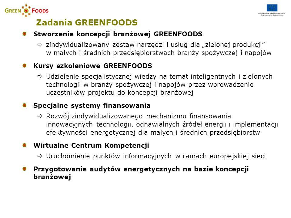 Główne kroki Opracowanie i wykorzystanie koncepcji branżowej projektu GREENFOODS, bazującej na przygotowanych audytach energetycznych Opracowanie krajowych i branżowych zindywidualizowanych systemów finansowania Przeprowadzenie 36 podstawowych audytów energetycznych, 5 szczegółowych audytów energetycznych oraz 1 pilotażowego wdrożenia rozwiązań (w całej Europie 200 audytów podstawowych, 20 szczegółowych, 5 wdrożeń) Kursy szkoleniowe GREENFOODS stanowiące rozwinięcie modułów szkoleniowych EUREM (Europejski Menedżer Energii)