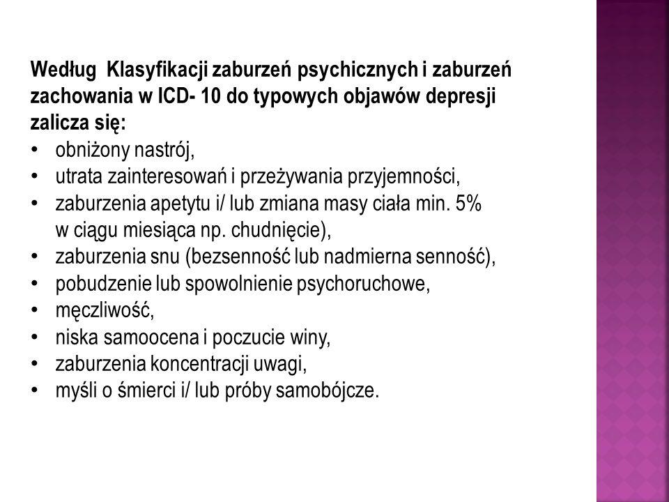 Według Klasyfikacji zaburzeń psychicznych i zaburzeń zachowania w ICD- 10 do typowych objawów depresji zalicza się: obniżony nastrój, utrata zainteres