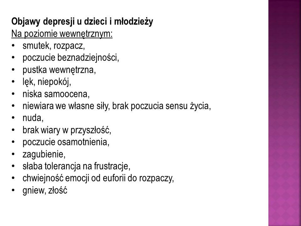 Objawy depresji u dzieci i młodzieży Na poziomie wewnętrznym: smutek, rozpacz, poczucie beznadziejności, pustka wewnętrzna, lęk, niepokój, niska samoo