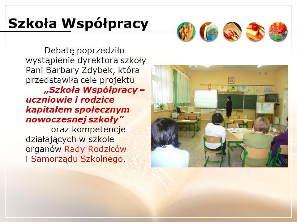 Szkoła Współpracy Debatę przeprowadzono metodą wędrującego plakatu.