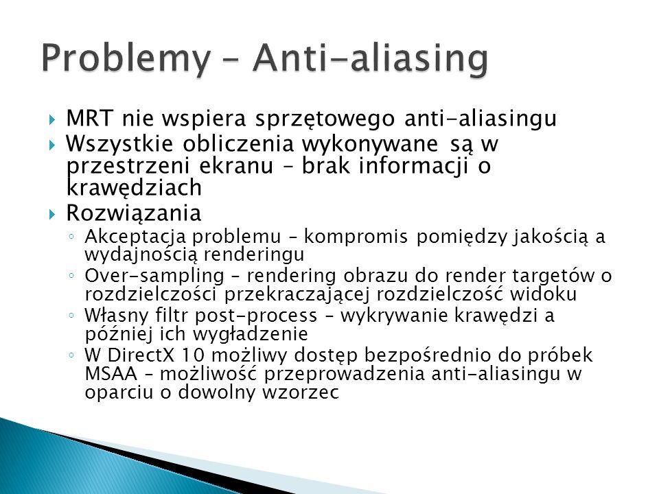 MRT nie wspiera sprzętowego anti-aliasingu Wszystkie obliczenia wykonywane są w przestrzeni ekranu – brak informacji o krawędziach Rozwiązania Akcepta
