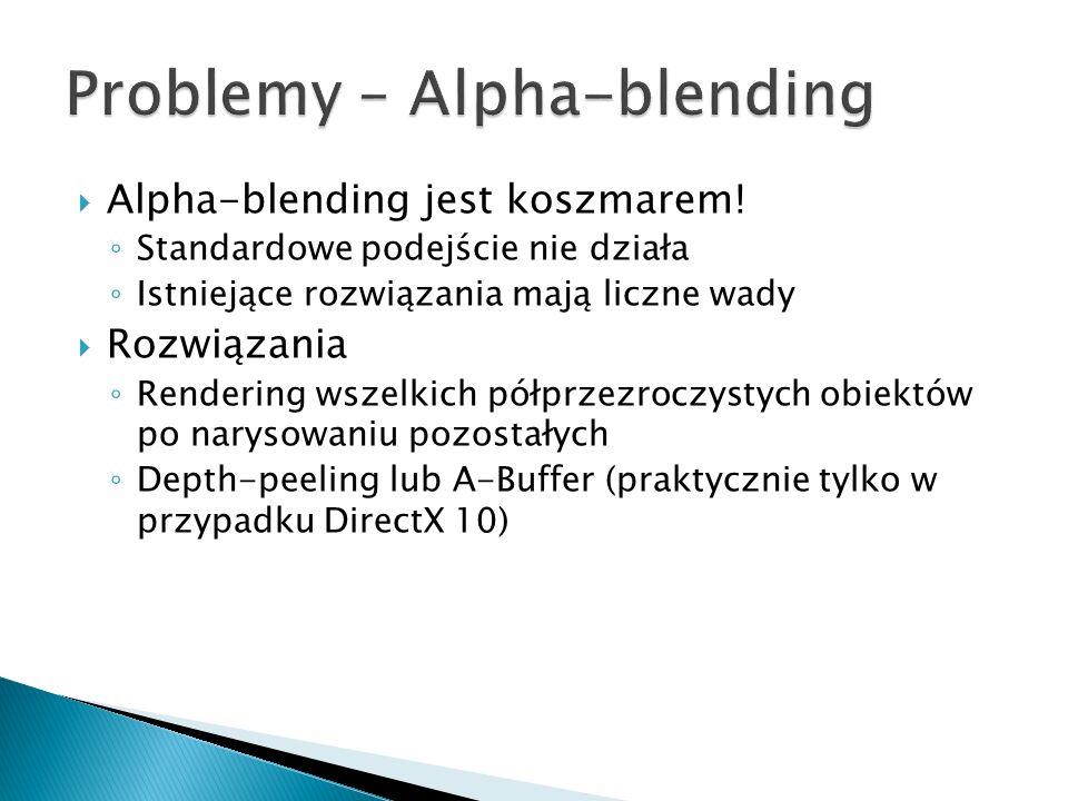 Alpha-blending jest koszmarem! Standardowe podejście nie działa Istniejące rozwiązania mają liczne wady Rozwiązania Rendering wszelkich półprzezroczys