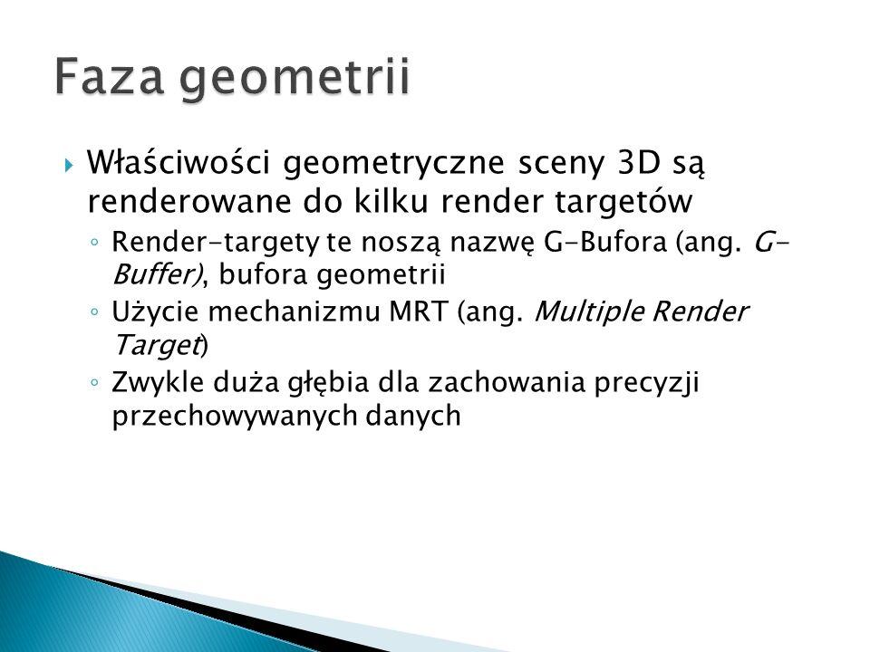 Właściwości geometryczne sceny 3D są renderowane do kilku render targetów Render-targety te noszą nazwę G-Bufora (ang. G- Buffer), bufora geometrii Uż