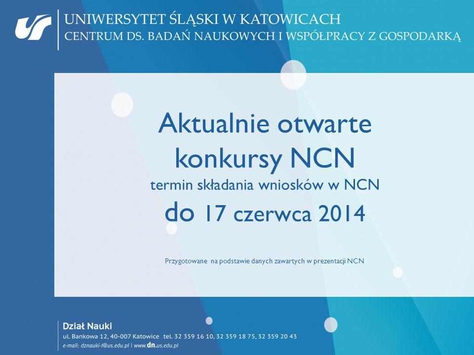 Aktualnie otwarte konkursy NCN termin składania wniosków w NCN do 17 czerwca 2014 Przygotowane na podstawie danych zawartych w prezentacji NCN
