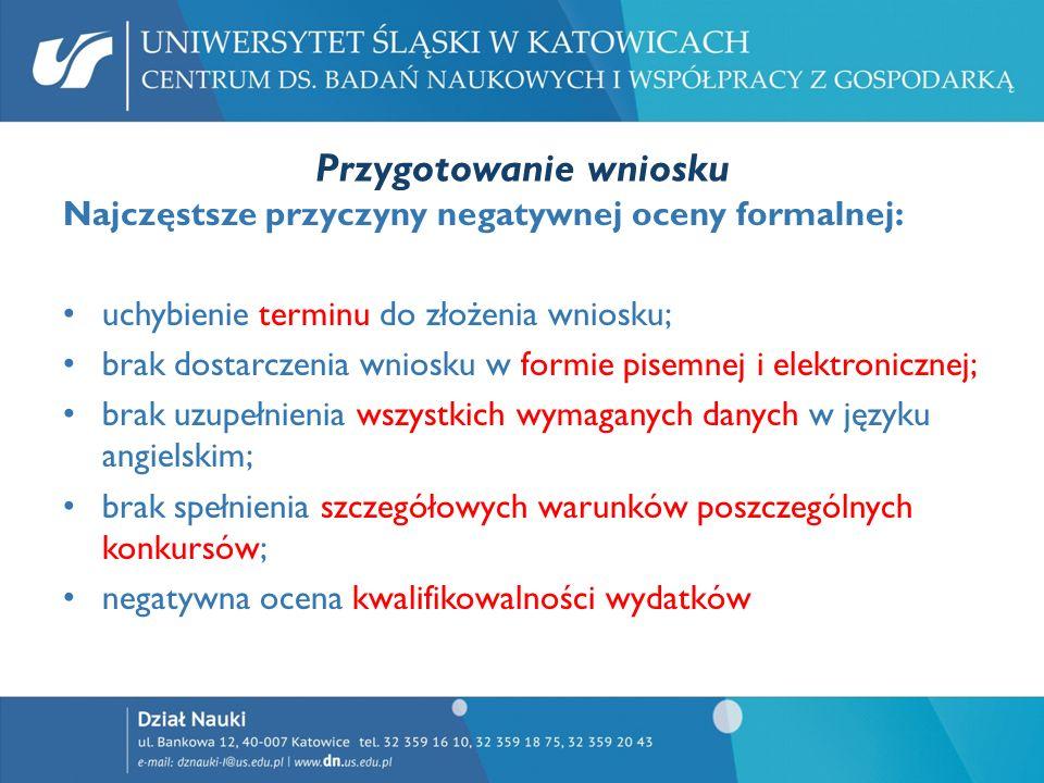 Przygotowanie wniosku Najczęstsze przyczyny negatywnej oceny formalnej: uchybienie terminu do złożenia wniosku; brak dostarczenia wniosku w formie pis