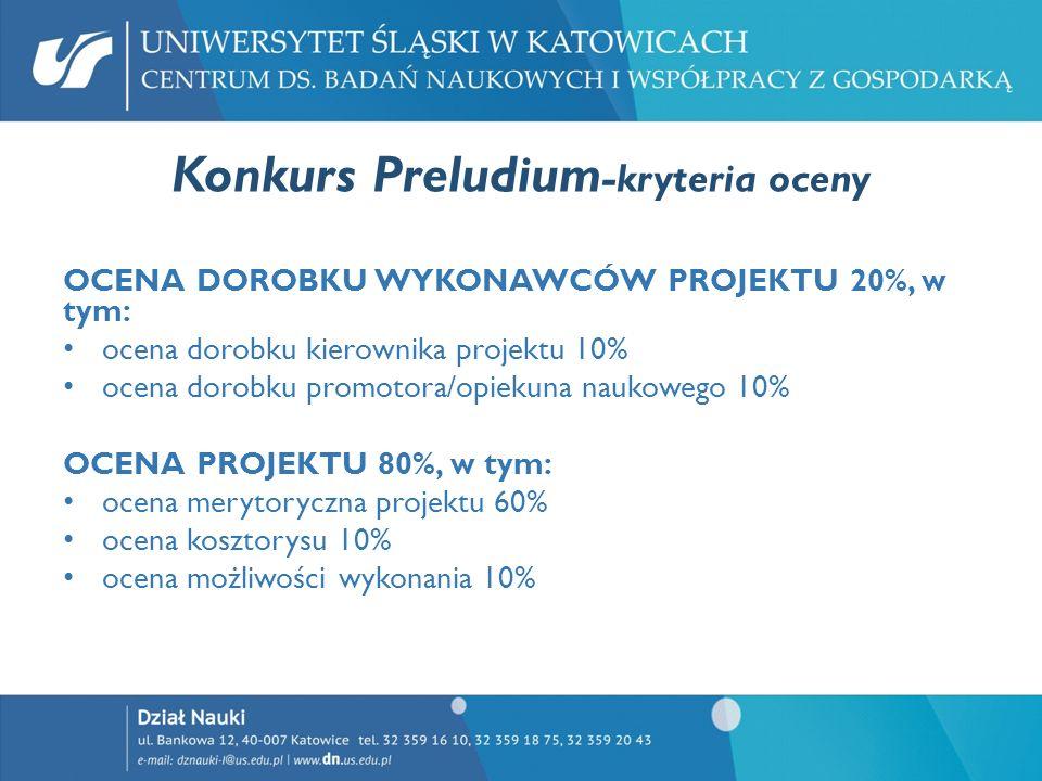 Konkurs Preludium -kryteria oceny OCENA DOROBKU WYKONAWCÓW PROJEKTU 20%, w tym: ocena dorobku kierownika projektu 10% ocena dorobku promotora/opiekuna