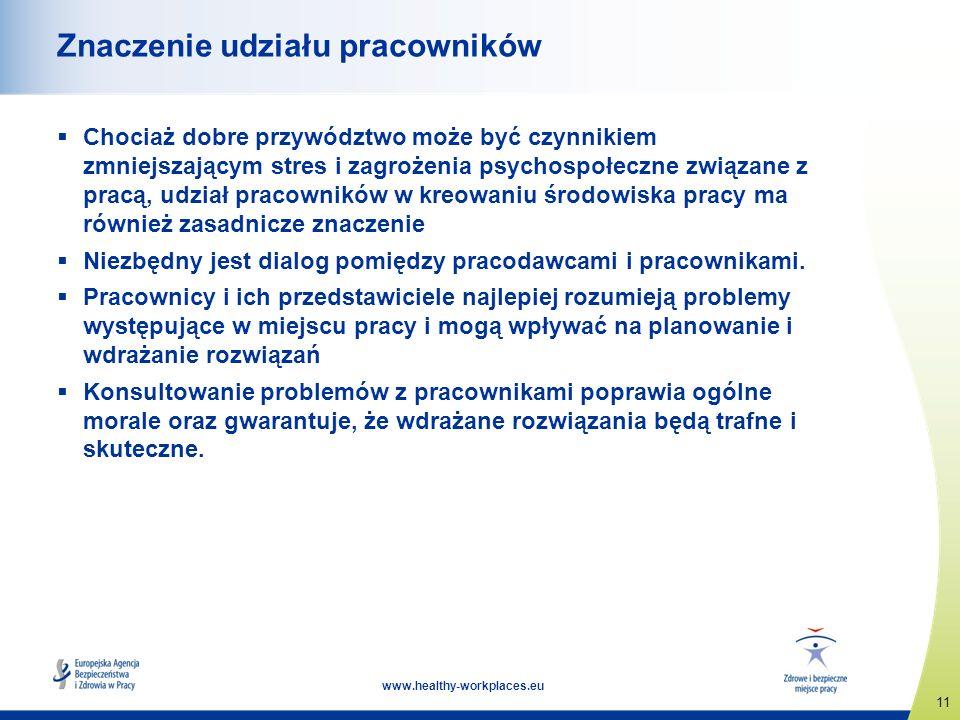 11 www.healthy-workplaces.eu Znaczenie udziału pracowników Chociaż dobre przywództwo może być czynnikiem zmniejszającym stres i zagrożenia psychospołe