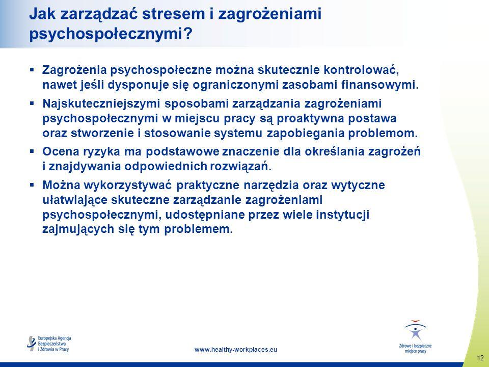 12 www.healthy-workplaces.eu Jak zarządzać stresem i zagrożeniami psychospołecznymi? Zagrożenia psychospołeczne można skutecznie kontrolować, nawet je