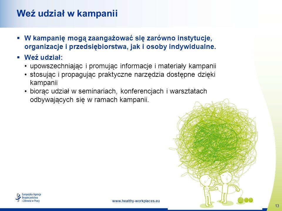 13 www.healthy-workplaces.eu Weź udział w kampanii W kampanię mogą zaangażować się zarówno instytucje, organizacje i przedsiębiorstwa, jak i osoby ind