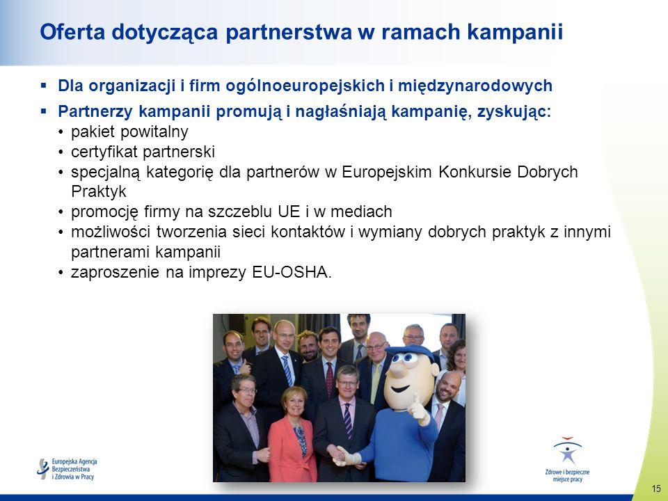 15 www.healthy-workplaces.eu Oferta dotycząca partnerstwa w ramach kampanii Dla organizacji i firm ogólnoeuropejskich i międzynarodowych Partnerzy kam