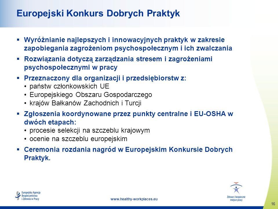 16 www.healthy-workplaces.eu Europejski Konkurs Dobrych Praktyk Wyróżnianie najlepszych i innowacyjnych praktyk w zakresie zapobiegania zagrożeniom ps