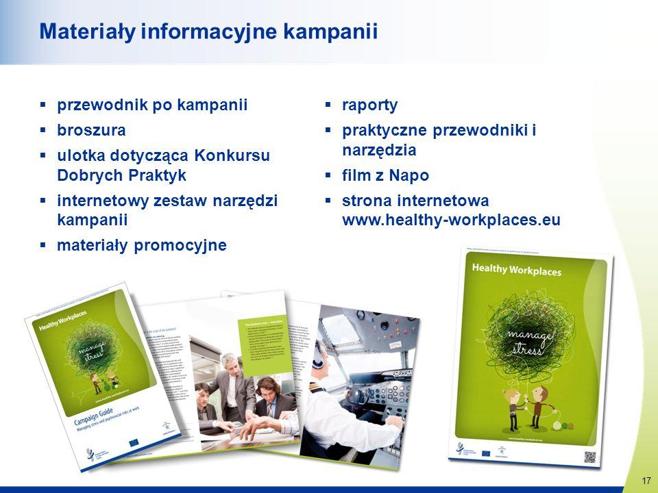 17 www.healthy-workplaces.eu Materiały informacyjne kampanii przewodnik po kampanii broszura ulotka dotycząca Konkursu Dobrych Praktyk internetowy zes