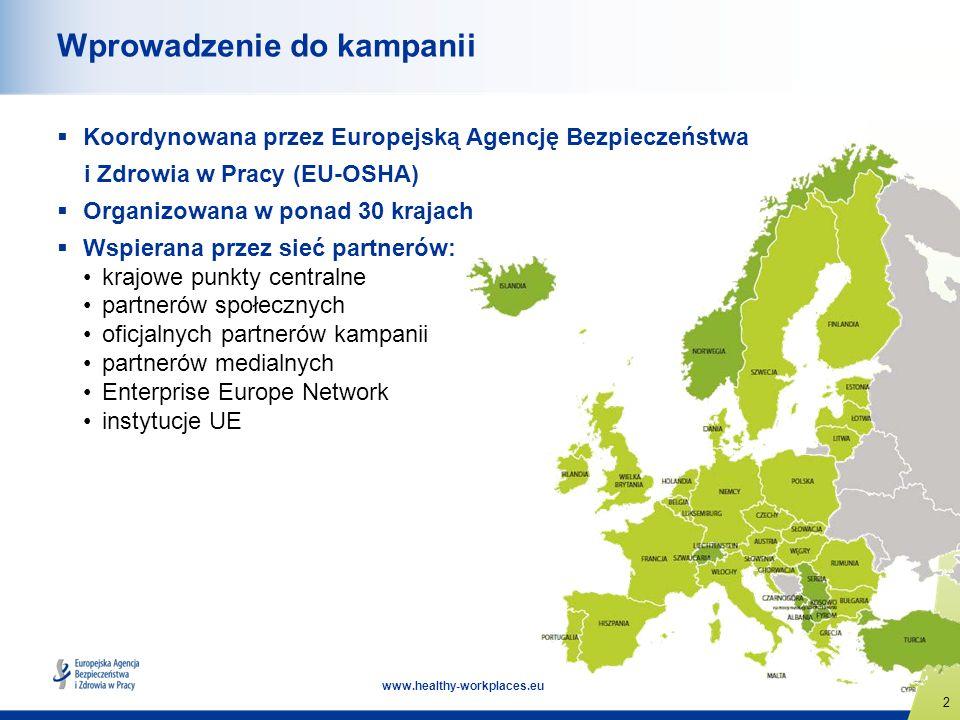 2 www.healthy-workplaces.eu Wprowadzenie do kampanii Koordynowana przez Europejską Agencję Bezpieczeństwa i Zdrowia w Pracy (EU-OSHA) Organizowana w p