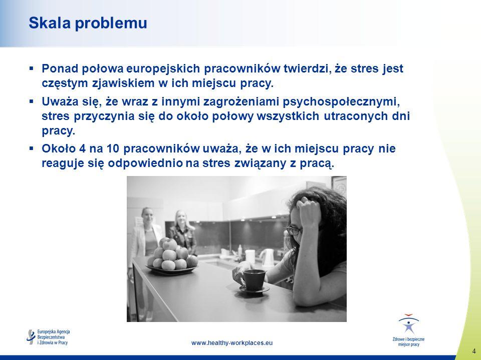 4 www.healthy-workplaces.eu Skala problemu Ponad połowa europejskich pracowników twierdzi, że stres jest częstym zjawiskiem w ich miejscu pracy. Uważa