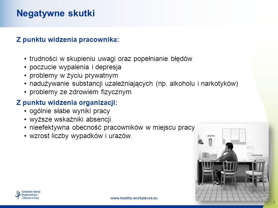 7 www.healthy-workplaces.eu Negatywne skutki Z punktu widzenia pracownika: trudności w skupieniu uwagi oraz popełnianie błędów poczucie wypalenia i de