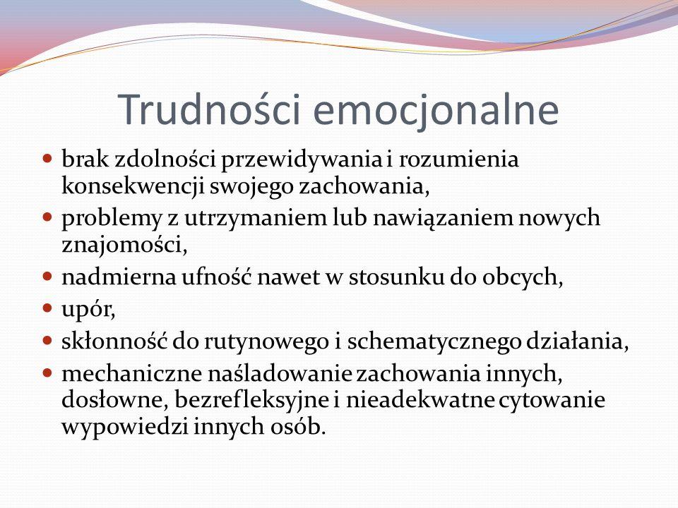 Trudności emocjonalne brak zdolności przewidywania i rozumienia konsekwencji swojego zachowania, problemy z utrzymaniem lub nawiązaniem nowych znajomo