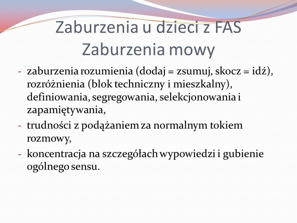 Zaburzenia u dzieci z FAS Zaburzenia mowy - zaburzenia rozumienia (dodaj = zsumuj, skocz = idź), rozróżnienia (blok techniczny i mieszkalny), definiow