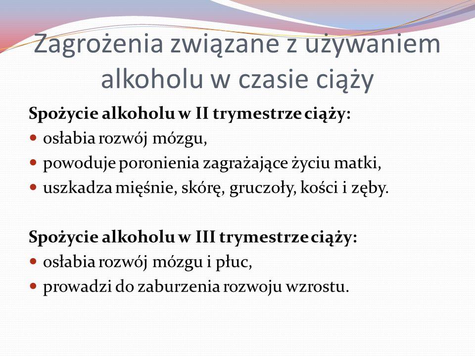 Zagrożenia związane z używaniem alkoholu w czasie ciąży Spożycie alkoholu w II trymestrze ciąży: osłabia rozwój mózgu, powoduje poronienia zagrażające