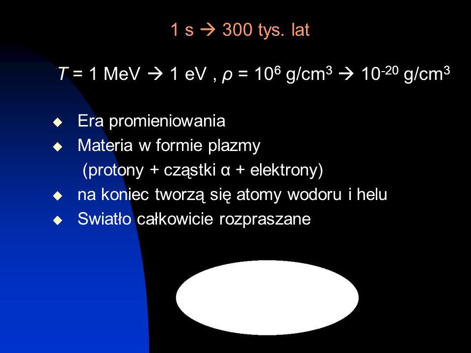 1 s 300 tys. lat T = 1 MeV 1 eV, ρ = 10 6 g/cm 3 10 -20 g/cm 3 Era promieniowania Materia w formie plazmy (protony + cząstki α + elektrony) na koniec