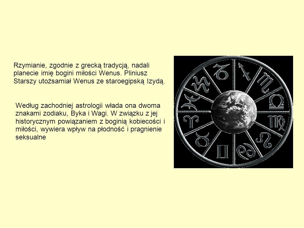 Rzymianie, zgodnie z grecką tradycją, nadali planecie imię bogini miłości Wenus. Pliniusz Starszy utożsamiał Wenus ze staroegipską Izydą. Według zacho