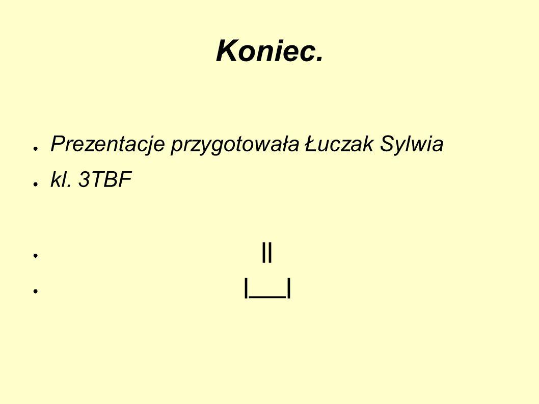 Koniec. Prezentacje przygotowała Łuczak Sylwia kl. 3TBF || |___|