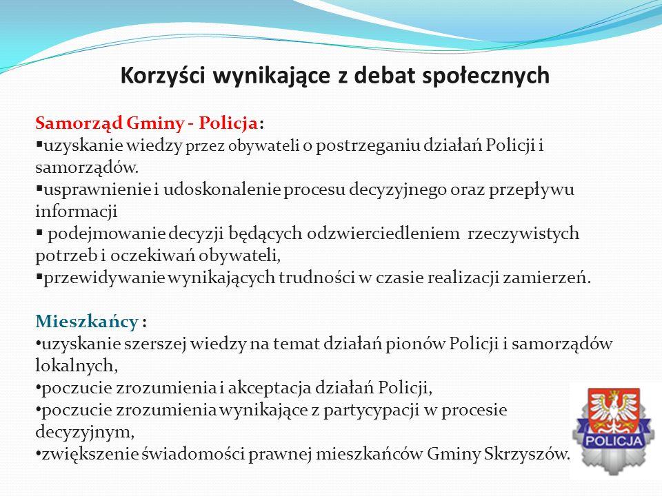 Korzyści wynikające z debat społecznych Samorząd Gminy - Policja: uzyskanie wiedzy przez obywateli o postrzeganiu działań Policji i samorządów. uspraw