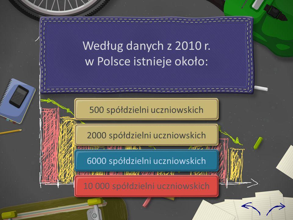 500 spółdzielni uczniowskich 2000 spółdzielni uczniowskich 6000 spółdzielni uczniowskich 10 000 spółdzielni uczniowskich Według danych z 2010 r.