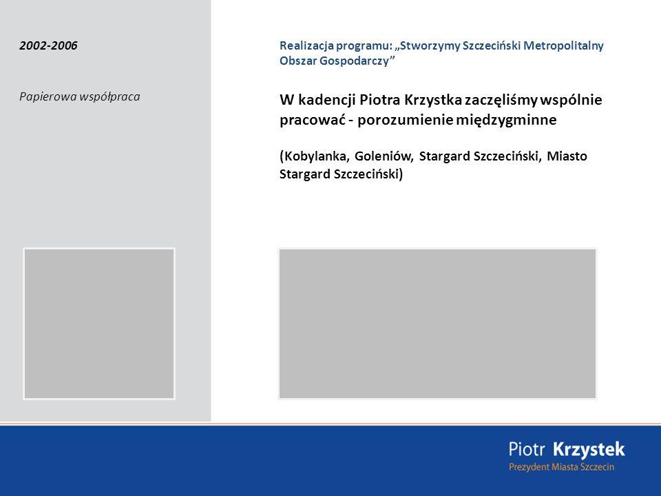 Realizacja programu: Stworzymy Szczeciński Metropolitalny Obszar Gospodarczy Papierowa współpraca W kadencji Piotra Krzystka zaczęliśmy wspólnie pracować - porozumienie międzygminne (Kobylanka, Goleniów, Stargard Szczeciński, Miasto Stargard Szczeciński) 2002-2006