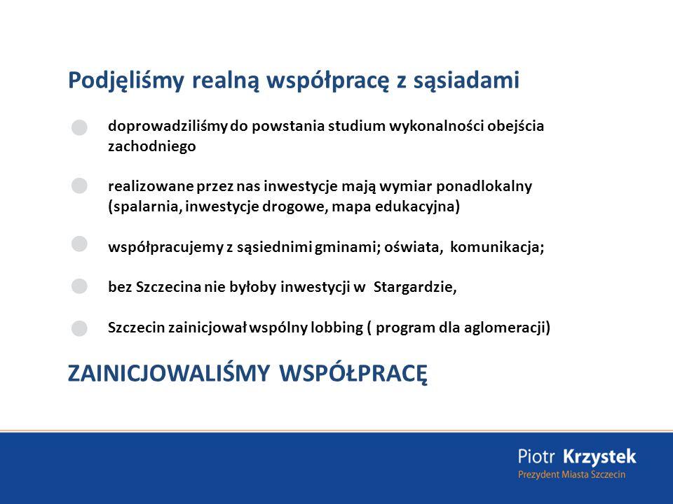 Podjęliśmy realną współpracę z sąsiadami doprowadziliśmy do powstania studium wykonalności obejścia zachodniego realizowane przez nas inwestycje mają wymiar ponadlokalny (spalarnia, inwestycje drogowe, mapa edukacyjna) współpracujemy z sąsiednimi gminami; oświata, komunikacja; bez Szczecina nie byłoby inwestycji w Stargardzie, Szczecin zainicjował wspólny lobbing ( program dla aglomeracji) ZAINICJOWALIŚMY WSPÓŁPRACĘ
