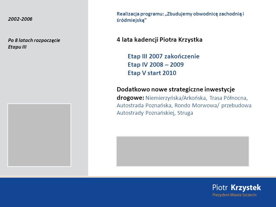 Realizacja programu: Zbudujemy obwodnicę zachodnią i śródmiejską Po 8 latach rozpoczęcie Etapu III 4 lata kadencji Piotra Krzystka Etap III 2007 zakończenie Etap IV 2008 – 2009 Etap V start 2010 Dodatkowo nowe strategiczne inwestycje drogowe: Niemierzyńska/Arkońska, Trasa Północna, Autostrada Poznańska, Rondo Morwowa/ przebudowa Autostrady Poznańskiej, Struga 2002-2006