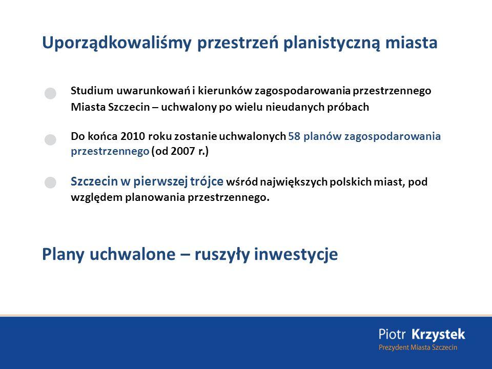 Realizacja programu: Szczecin będzie Europejskim Centrum Usługowym Brak nowoczesnej, wolnej powierzchni biurowej w Szczecinie funkcjonuje - 37,500 m 2 powierzchni biurowej W kadencji Piotra Krzystka powierzchnia biurowa - ponad 160 tysięcy m 2 (powierzchnia istniejąca i w realizacji) 2002-2006